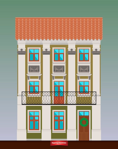 Dwelling house in classicism style. Premium Vector