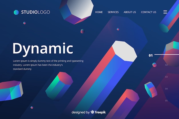 Dynamic 3d geometric landing page Free Vector