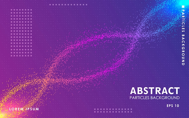 Dynamic abstract color particles background. Premium Vector