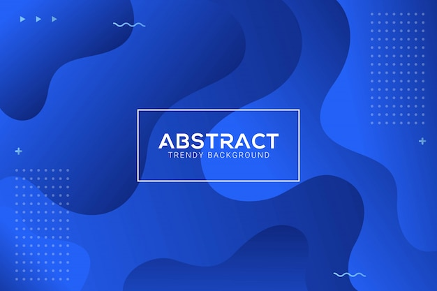 Dynamic abstract liquid trendy blue gradation background Premium Vector