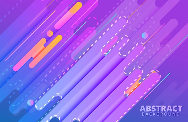 Dynamic background with abstract shapes composition and vivid color Premium Vector