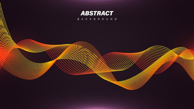 Dynamic linear waves background with orange color Premium Vector
