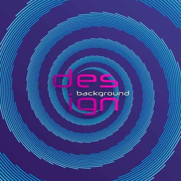 バックグラウンドミュージックのダイナミックな線と点。パーティクルを使用したネットワーク設計。軽い粒子による放射状の音波曲線。 3dテクノロジースタイル。 Premiumベクター