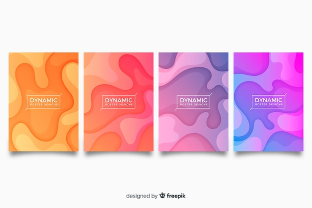 Dynamic poster collection Free Vector