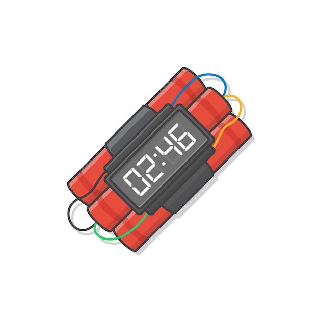 タイマー付きダイナマイト爆弾はアイコンイラストを爆発させる準備ができています。爆発性のダイナマイト、手榴弾、爆弾のアイコン Premiumベクター