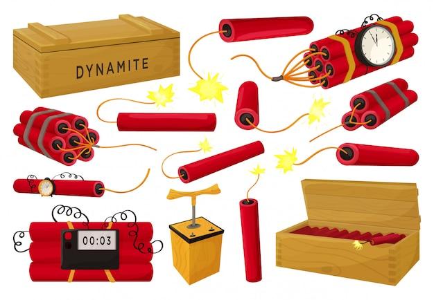 Иллюстрация динамита на белой предпосылке. мультфильм установить значок взрыватель. изолированный мультфильм набор значок динамит. Premium векторы