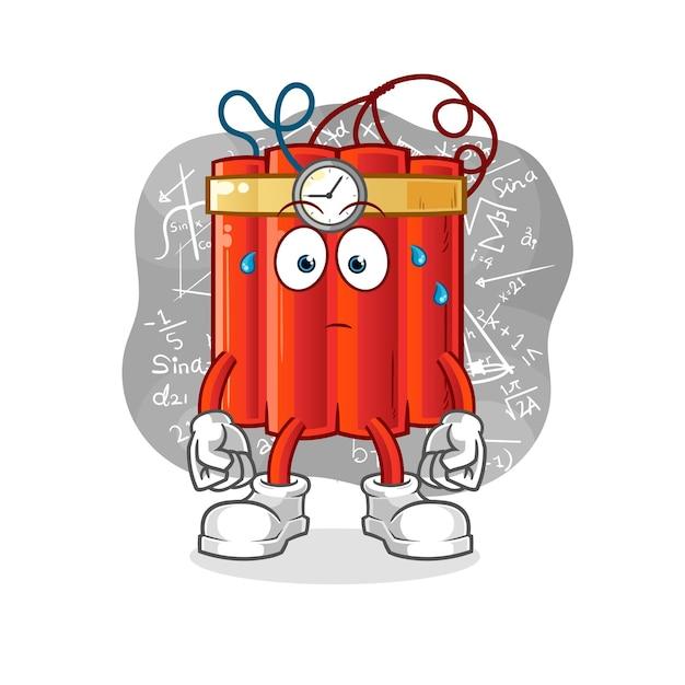 Динамит думает жесткий вектор. мультипликационный персонаж Premium векторы