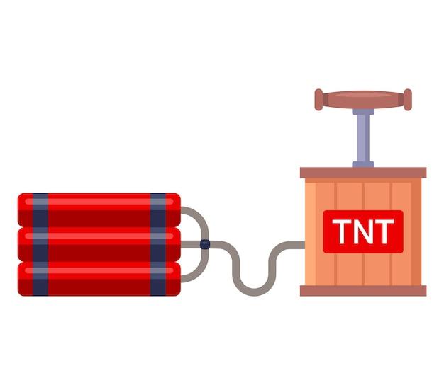 Динамит с детонатором для взрывных работ. Premium векторы