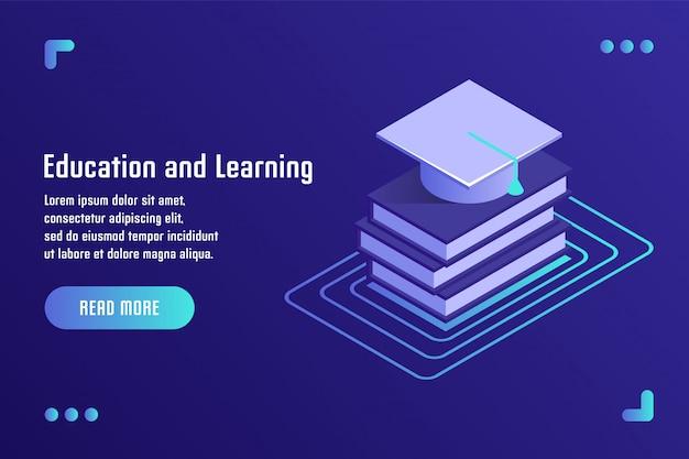 教育と学習、オンライントレーニング、遠隔教育、チュートリアル、eラーニング。平らな等角投影の3dスタイルのベクトル図です。 Premiumベクター