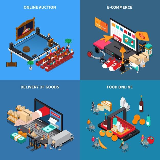 オンラインショッピングオークション商品購入配信とモバイルショッピングeコマースコンセプト4等尺性組成物 無料ベクター