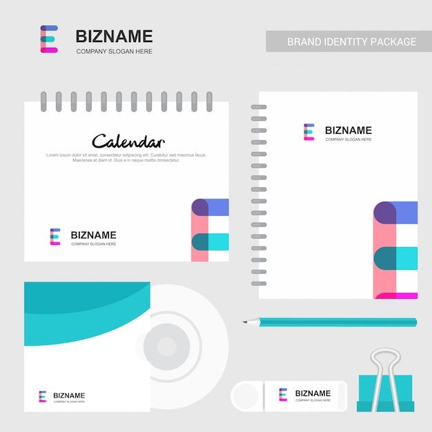E abstract logo and notebook calendar template Premium Vector