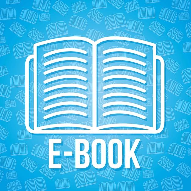 Значок электронной книги на синем фоне векторной иллюстрации Premium векторы