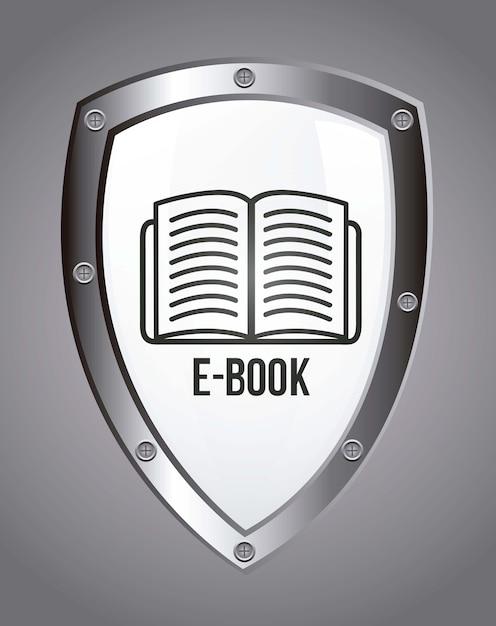 Значок электронной книги на сером фоне Premium векторы