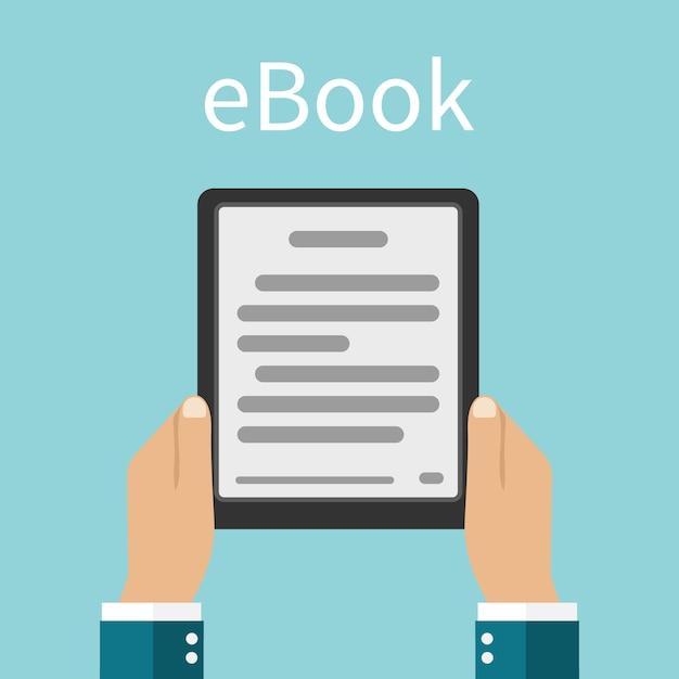 Электронная книга. мужчина держит в руках электронную книгу. Premium векторы
