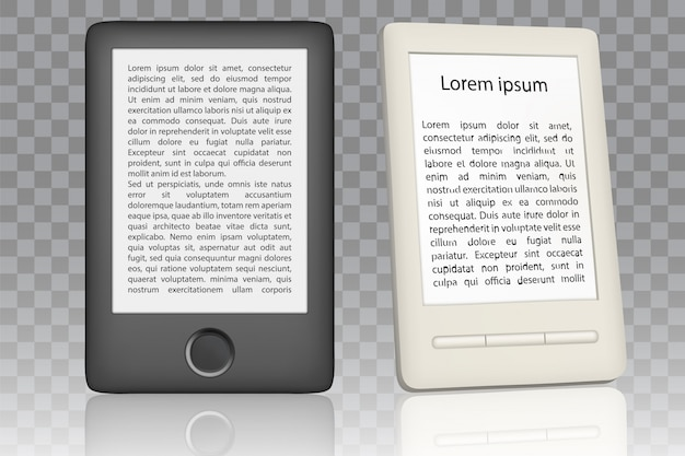 E-book reader realistic set Premium Vector