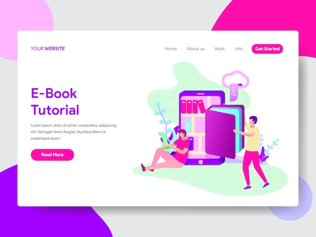 E-book tutorial illustration for web pages Premium Vector