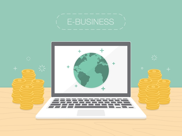 E-business background design Free Vector
