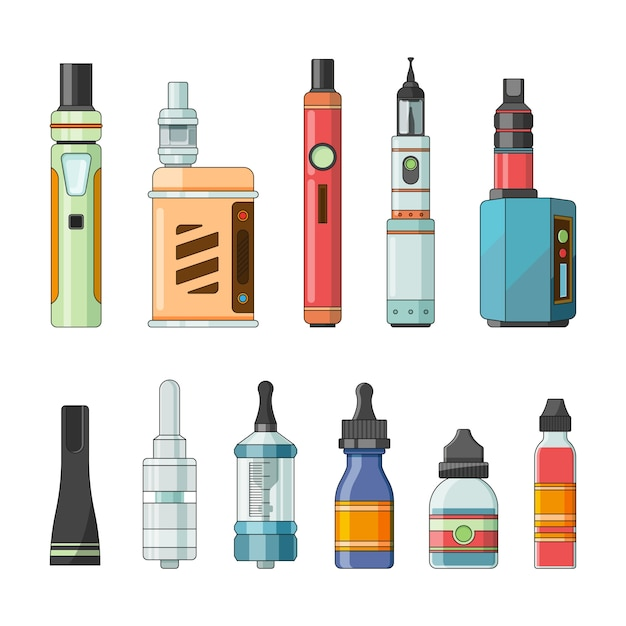 E cigarettes and different electric tools for vaping Premium Vector