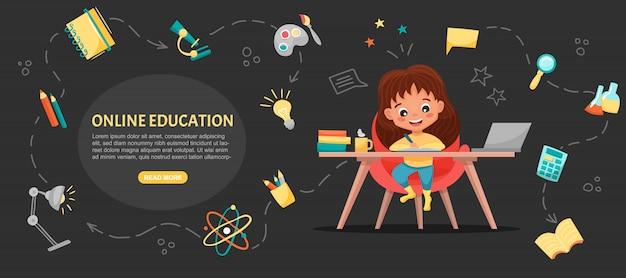 E-класс концепции баннера. интернет обучение. симпатичная школьница с помощью ноутбука. учитесь дома с нарисованными от руки элементами. веб-курсы или учебные пособия, программное обеспечение для обучения. плоская иллюстрация шаржа Premium векторы