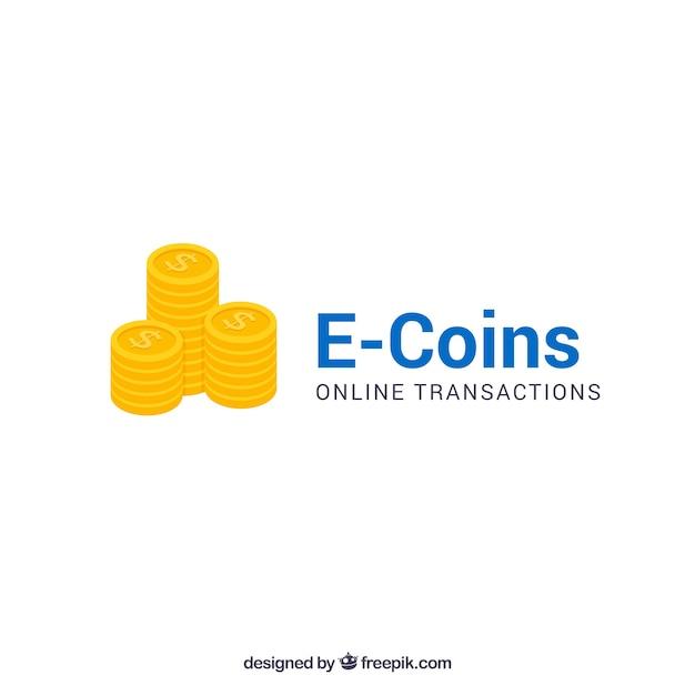 E coins money logo template Free Vector