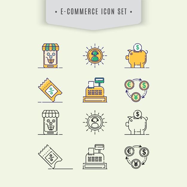 E-commer icon collectio Free Vector