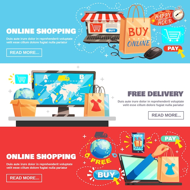 E-commerce banners collection Free Vector