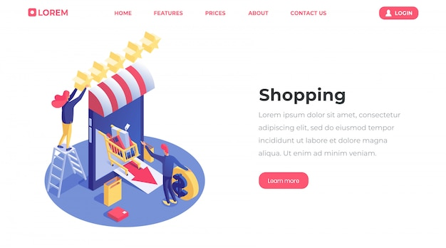 E-commerce and e-trading industry, businessman launching online store Premium Vector
