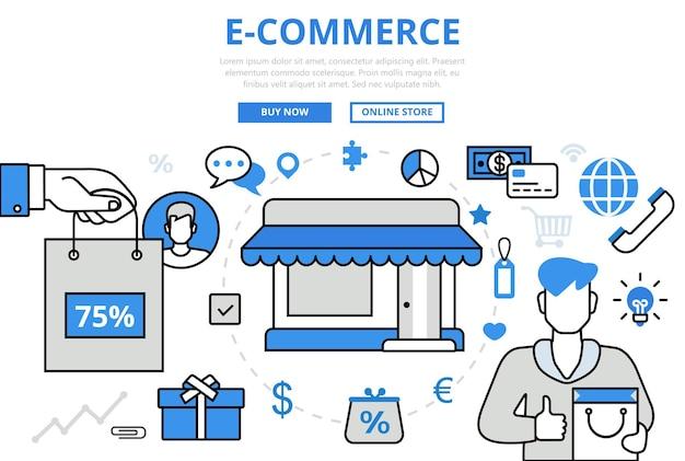 전자 상거래 전자 판매 상점 쇼핑 비즈니스 개념 플랫 라인 아트 아이콘. 무료 벡터