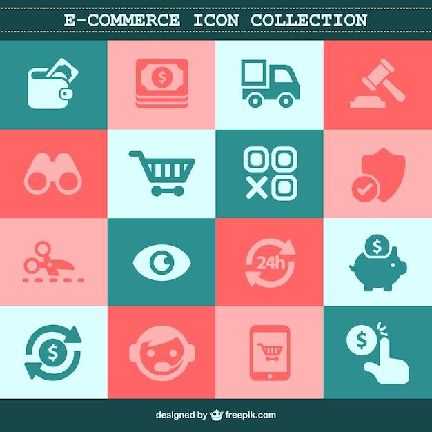 E-commerce flat set Free Vector