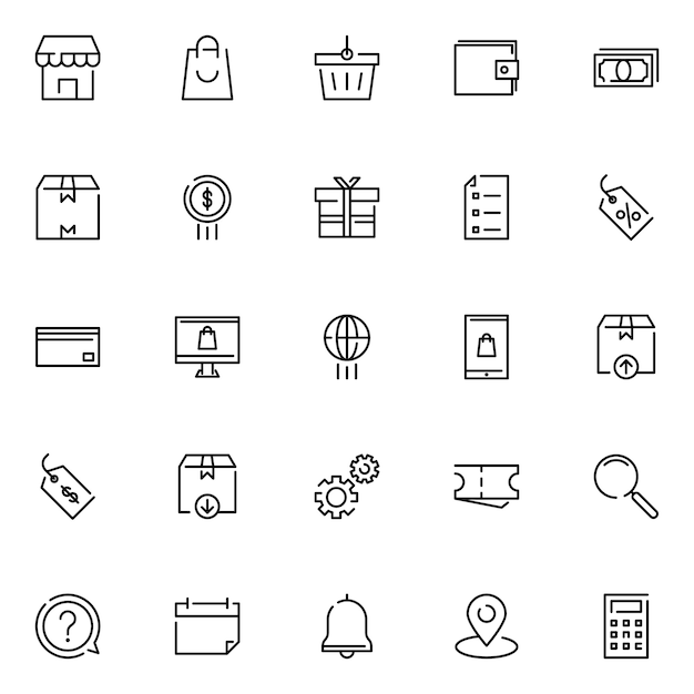 E-commerce icon pack, with outline icon style Premium Vector