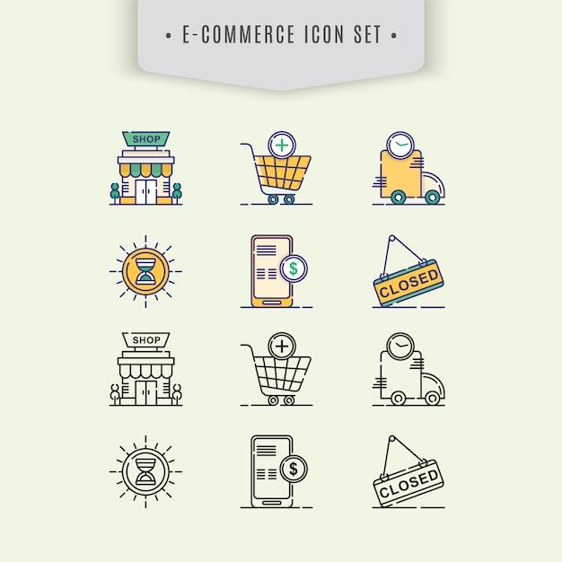 E-commerce icon set Free Vector