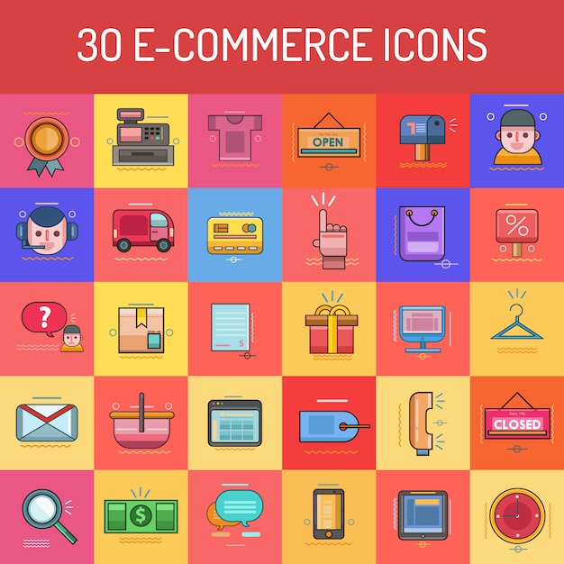 E-commerce icons collection Free Vector