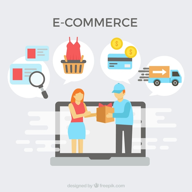 E-commerce icons and delivery Free Vector