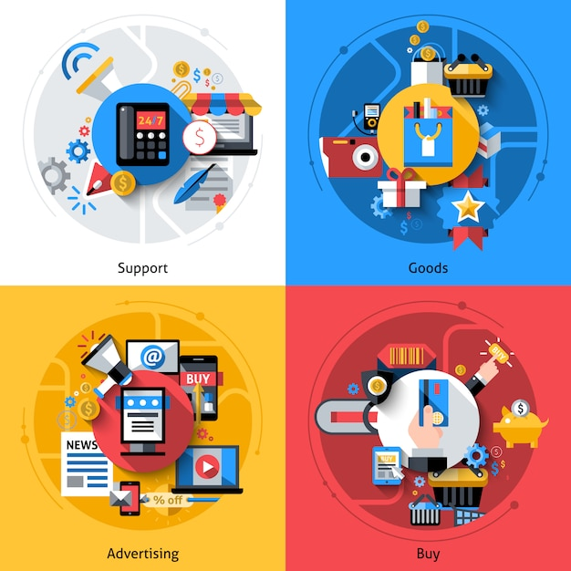 E-commerce icons set Free Vector