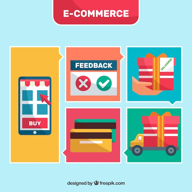 E-commerce illustrations withflat design