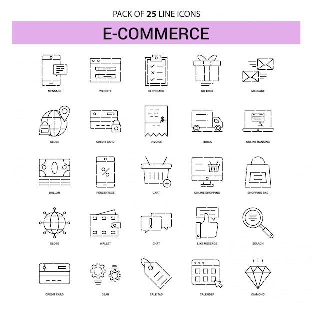 E-commerce line icon set - 25 dashed outline style Premium Vector