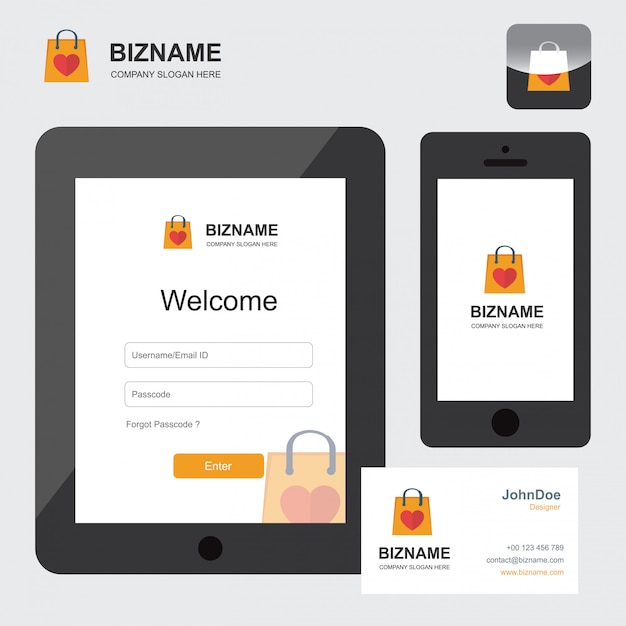 E-commerce logo and mobile app design Free Vector