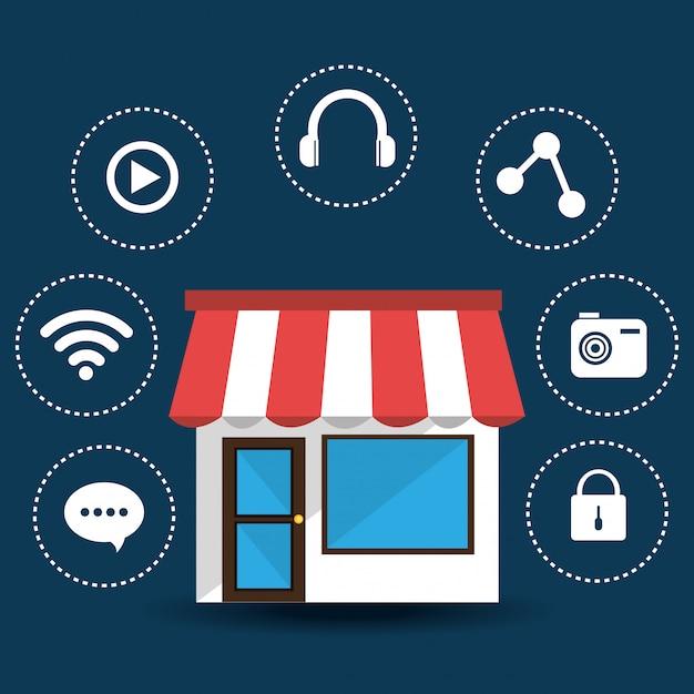 E-commerce and market mobile applications design. Premium Vector