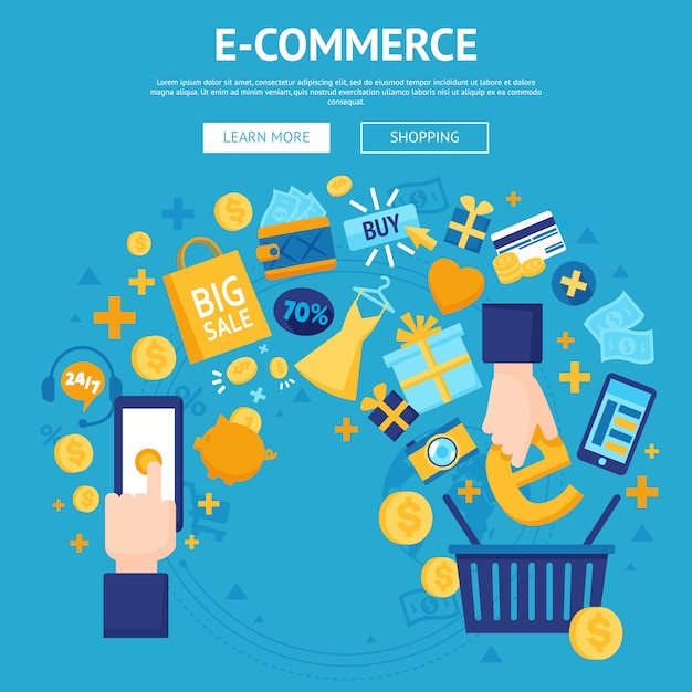 E-commerce online shop webpage design Free Vector