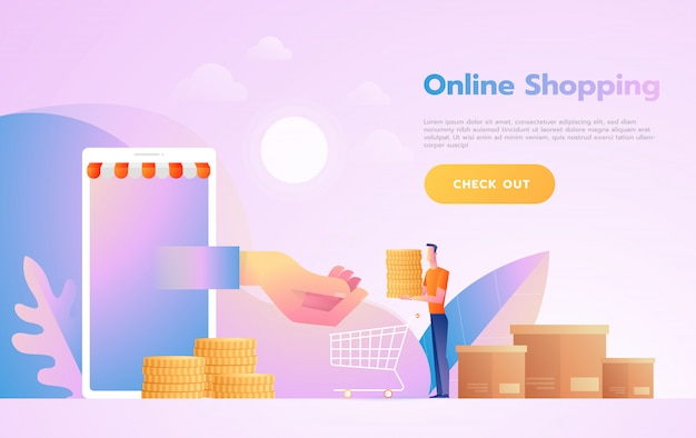 E-commerce or online shopping concept with hands reaching out of a computer screen holding a shopping product. Premium Vector