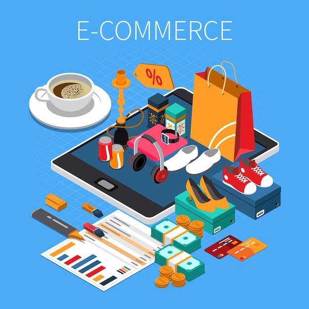 E-commerce online shopping isometric composition with credit card cash purchased shoes on tablet screen Free Vector