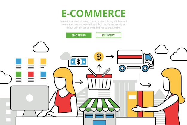 E-commerce online shopping sale delivery concept flat line art icons Free Vector