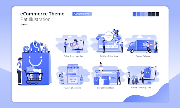 E-commerce or online shopping theme in a flat illustration Premium Vector