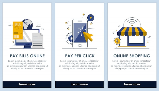 E-commerce and pay bills on line app screens Premium Vector