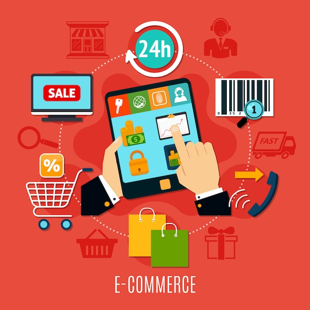E-commerce round composition Free Vector