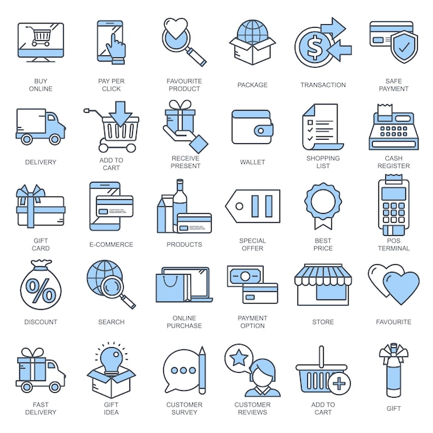 E commerce and shopping icon collection Premium Vector