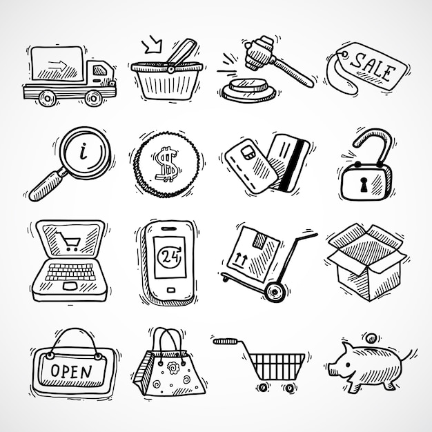 E-commerce shopping icons sketch set of delivery truck credit card piggy bank isolated vector illustration Free Vector