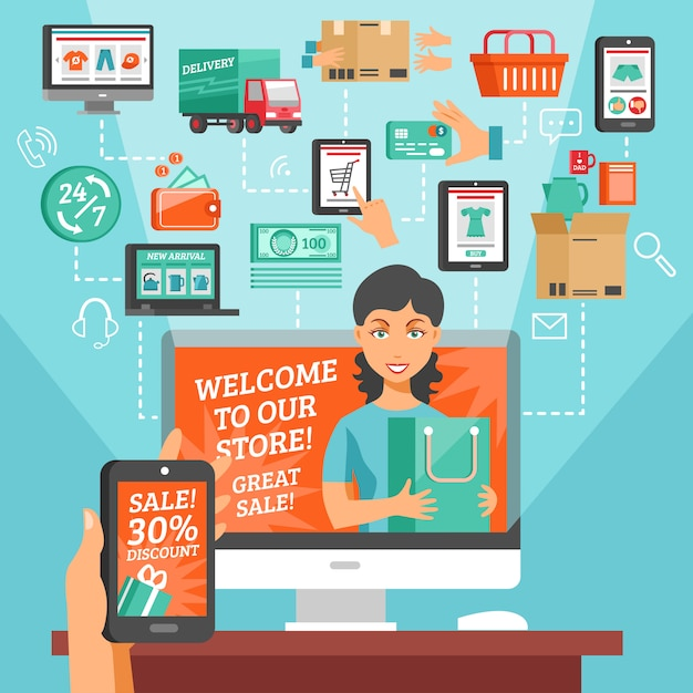 E-commerce and shopping illustration Free Vector