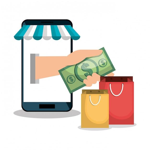 E-commerce smartphone shop online design Premium Vector
