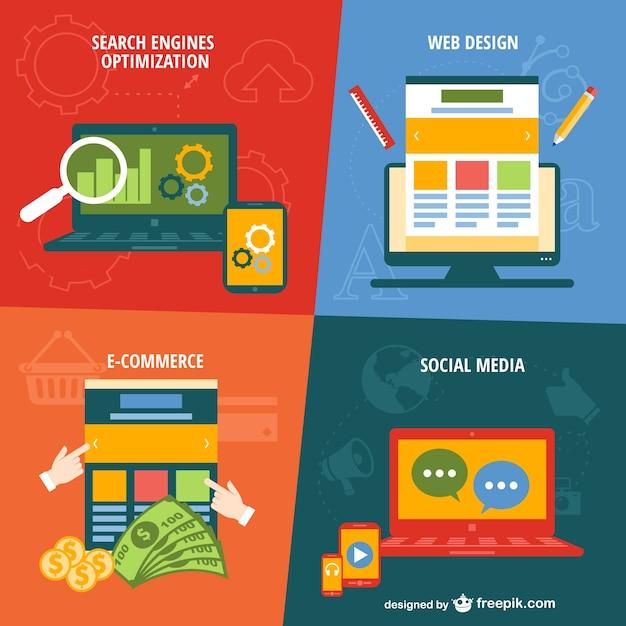 E-commerce and social media Free Vector